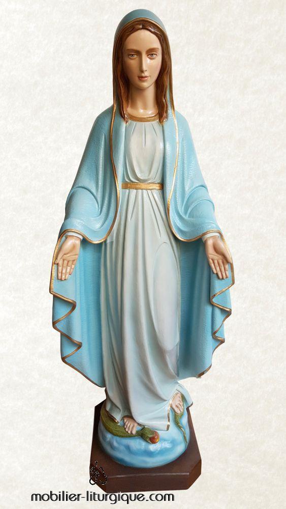 Statue Vierge Miraculeuse en marbre coloré